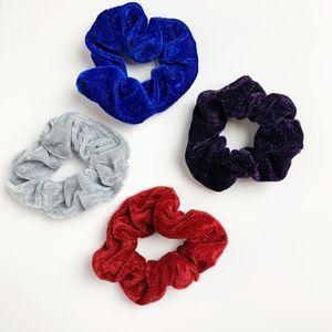 Velvet Scrunchies 4-pack, grey, red, blue, purple